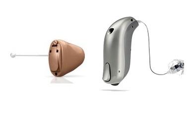 דגמים מכשירי שמיעה זעירים ומאחורי האוזן